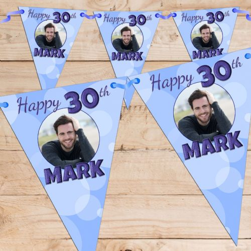 Personalised Blue Happy Birthday Flag PHOTO Bunting Banner - N63
